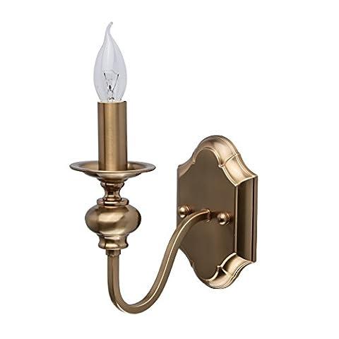 Applique murale classique en métal couleur laiton avec lampe en forme de bougie pour chambre ou salon ampoule 1*60W E14 IP20