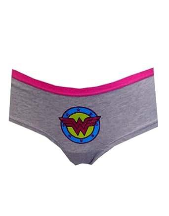 """Wonder Woman Underwear, Womens Glittering Logo Briefs Grey, X-Large, Waist 33 - 35"""""""