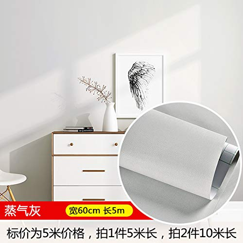 e Schlafzimmer Warme Tapete Wasserdicht Pvc Einfarbige Närrischen Schlafsaal Schlafzimmer Wandaufkleber Möbel Renovierung 0,6 X 5m Steam Ash ()