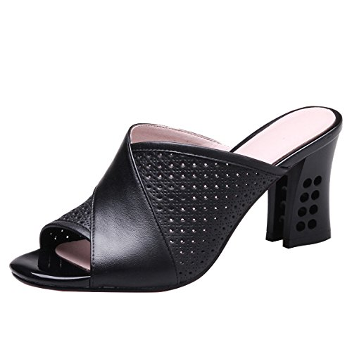 JYshoes High Heels Pantoletten Blockabsatz Mules Leder Damen Peeptoe Sandalen mit Absatz Schwarz 38EU