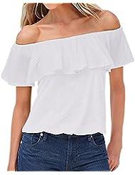 ZANZEA Blusa Camiseta Casual Elegante Verano Algodón Cuello Campesino Barco Manga Corta para Mujer