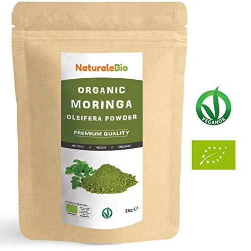 Organic Moringa Oleifera Leaf Powder [ Premium Quality ] 1kg | 100% Bio, Raw and Pure | Leaves Picked from The Moringa Oleifera Plant | Superfood Rich in Antioxidants and Nutrients | NATURALEBIO