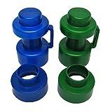 2 Abschlusskappen ∅ 25 mm und 2 Rohrmittelstücke, blau/grün