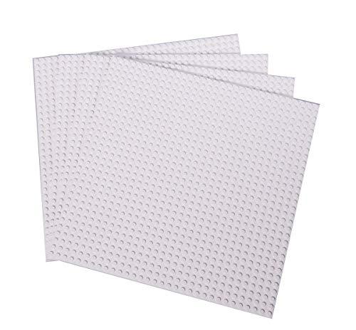 """Strictly Briks - Bauplatten - 100 % Kompatibel mit Allen Führenden Marken - Zum Bauen von Türmen, Tischen & Mehr - 10 x 10"""" (25,4 x 25,4 cm) - 4 Stück - Weiß"""