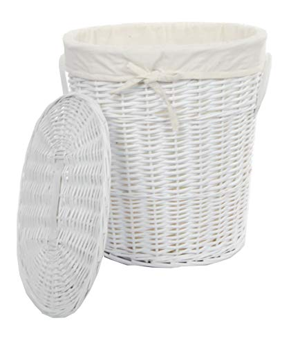 Cesto de mimbre para ropa sucia redondo con tapa. De color blanco puro.
