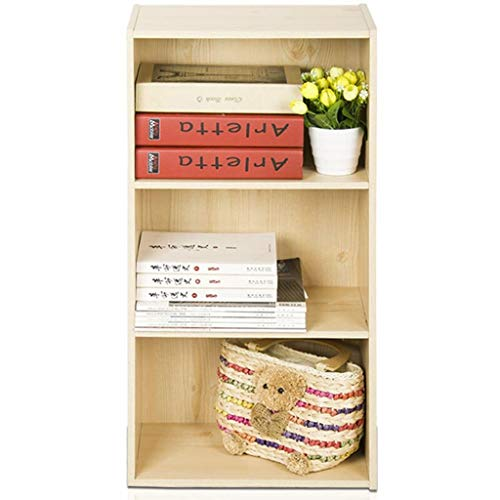 FJZ Bücherregal HX Bücherregal Bücherregal dreistufige Kombination Bücherregal Schließfach Schrank Regal Multifunktionsbücherschrank Schließfach (Color : White Maple Wood Color)