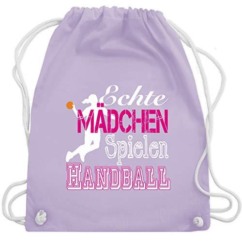 Handball - Echte Mädchen Spielen Handball weiß - Unisize - Pastell Lila - WM110 - Turnbeutel & Gym Bag