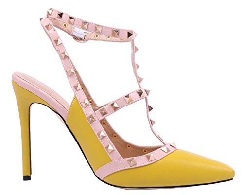 MONICOCO oversize candy boucle t-spangen creux couleurs de chaussures en cuir verni escarpins avec rivets Gelb PU