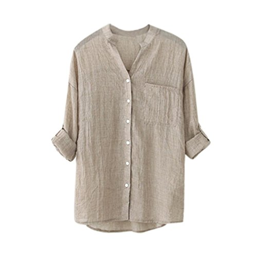 Mounter Womens Cotton Linen Solid 3/4 Sleeve Blouse Plus Size, Ladies Casual Button Down Tops T-Shirt Shirts Summer Clothes UK 8-20