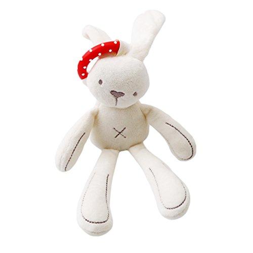 Lalang Baby Plüschtiere, Kleinkindspielzeug,Beschwichtigen Schlaf Spielzeug,Kinderwagen, der Spielzeugauto-Drehmaschine hängenden Plüschtier, Weiß Kaninchen