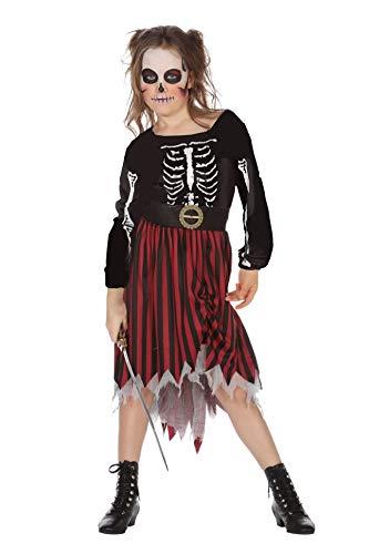 Wilbers Piratenkostüm Mädchen Pirat Skelett Kinder Kostüm Halloween Karneval 128-164 Schwarz/Rot/Weiß 164 (13-14 Jahre) (Skelett Pirat Kind Kostüm)