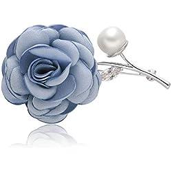 Epinki Joyería Chapado en Platino Broches para Mujer Rosa Flor Perla Azul Broches