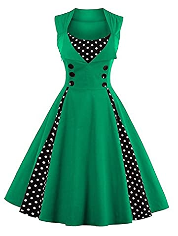 Minetom Damen Polka Dots Vintage 50er Elegantes Ärmellos Abendkleid mit Knöpfe Rockabilly Swing Cocktailkleid Grün DE 38