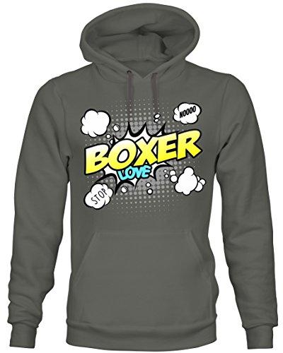 Boxer-comics (Unisex Hoodie Kapuzensweatshirt - BOXER deutscher Diensthunderasse - COMIC Cartoon Fun Siviwonder dark grey XL)