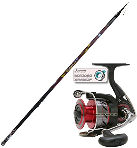 EVO FISHING Kit Bolognese Rute Nikita 7m + Angelrolle Daiwa Crossfire 3000SR