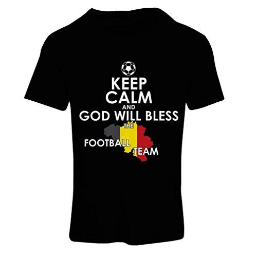 Frauen T-Shirt Gott Wird die belgische Fußballmannschaft, die belgische Flagge segnen (X-Large Schwarz Mehrfarben)