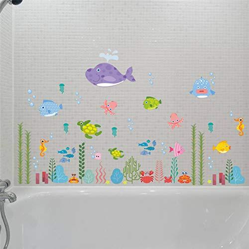 (Fyyanm Unterwasserwelt Fisch Bubble Seestern Star Nemo Wandaufkleber Cartoon Wandtattoos Badezimmer Dekor Kindergarten Kinderzimmer Poster Wandbild)