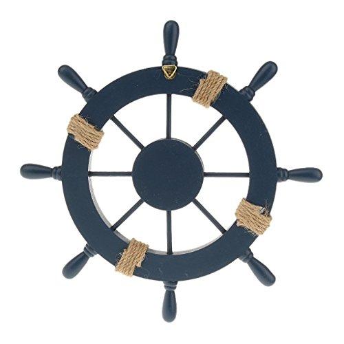 PRIMI Wandbehang Decor Nautical Holz Boot Schiff Rad Ruder (dunkelblau)
