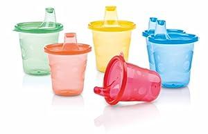 vasos con boquilla: Nuby ID91121A - Pack 6 tazas con boquilla en bolsa, 177 ml, 9+ m