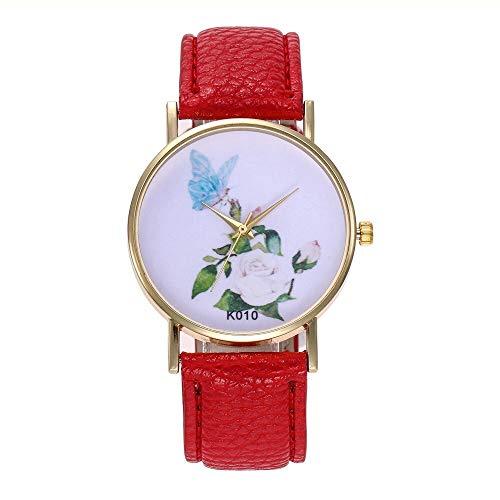 WZFCSAE Frauen Uhr Einfache Und Modische Blume Schmetterling Temperament Trend Damen Handgelenk Uhren für Frauen (Guess Uhren Frauen Schmetterling)