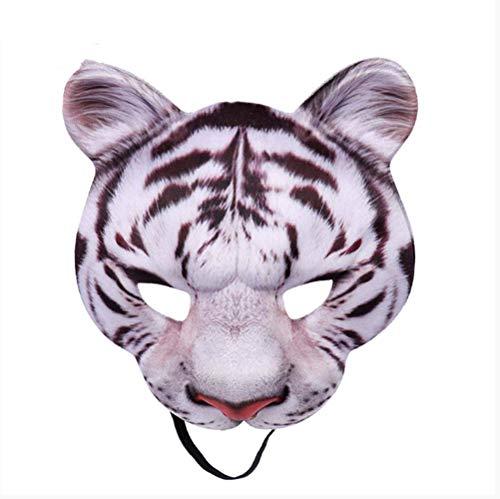 Kostüm Tiger Realistische - VAWAA Karneval Party Mann Und Frauen Halb Gesicht Realistische Tier Cosplay Kostüm Tiger Maske