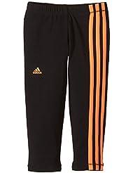 Adidas Tights - Pantalones pirata de fitness para niña, color Negro (Black/Flash Orange), talla UK: Talla 152