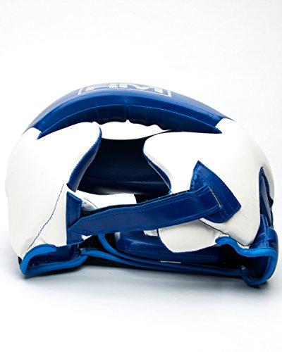 ringmasteruk Boxen Kopfschutz Kunstleder weiß blau Abbildung 2