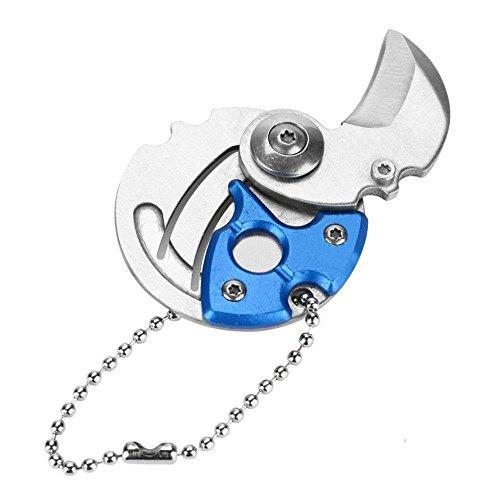 KOBWA Mini Faltendes Taschenmesser, Kreativer EDC Münzen-Form Edelstahl Survival Tactical Keychain Craft Messer Multitool für Outdoor-Aktivitäten, Camping und Täglichen Gebrauch