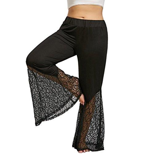 TUDUZ Plus Size Haremshose/Yogahose/Jogginghose/Yoga Pilates Hosen/Yoga pants Hose für Damen Flare Hosen Spitze Hosen (Schwarz, XL) (Bio-flare-hose)