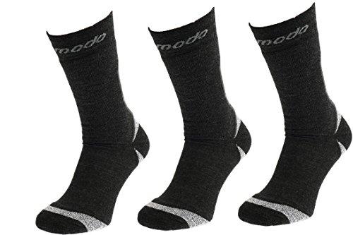 COMODO® STE - Set de 3 TREKKING EXTREME SOCKS (Chaussettes de randonnée Nordic Walking Alpinisme), Comodo/Mondo-Calza Farbe:Antracite / mouline;Comodo/Mondo-Calza Größen:35-38