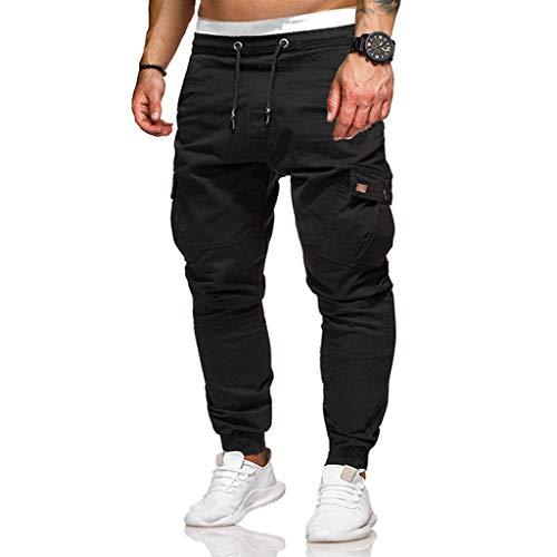 YU'TING ☀‿☀ Pantaloni Cargo Uomo, Pantaloni Uomo Lunghi Cargo con Coulisse Tasche Laterali Trousers della di Sport Pants Elastici Casual Maschi