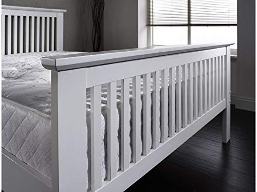 Howard Double Bed 4ft6 Solid Wood Oak or White Shabby Chic Finish - Mission Style (White)