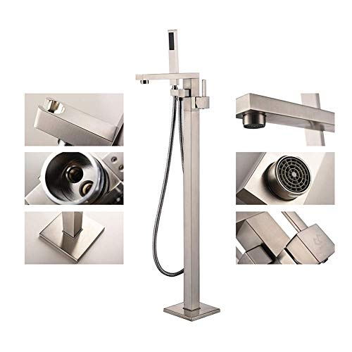 Tub Tap Freestanding Bath Faucet Modern Square Hand Held Shower Head Set - 2 Gpm Flow Control