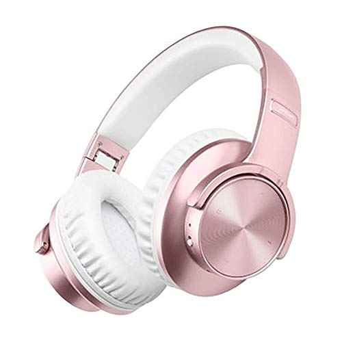 Bluetooth-Headset Am Kopf, Musikkopfhörer, Lauf-Headset, Zweisprachige Stimme, Assistent, Fingerabdruck-Touch, Subwoofer, Kabelloser Musik-Player (Color : Pink) (Pink Touch Mp3-player)