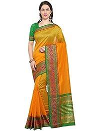G Stuff Fashion Women's Cotton Saree With Blouse Piece (Ta-52_Yellow Peacock Saree_Yellow)