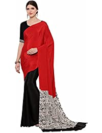 Ligalz Women's Crepe Printed Saree With Blouse Piece (VR00983_Red)