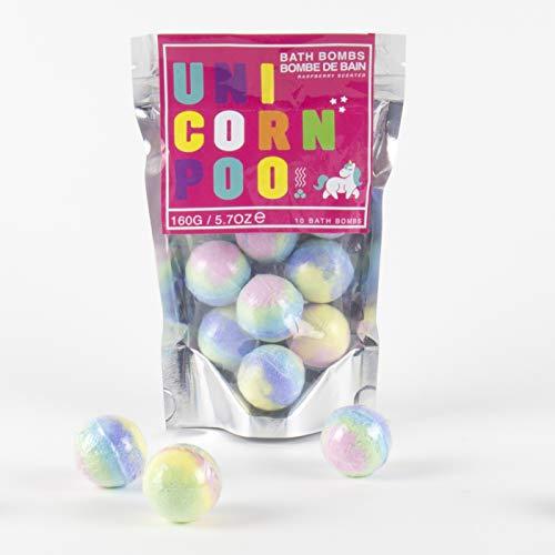 Unicorn Poo Pack of 10 Raspberry Scented Rainbow Bath Bombs 150g