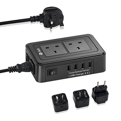 Price comparison product image Travel Power Strip,  Te-Rich 2 Way Outlet & 4 USB Ports Switched Extension Lead Surge Protector USB Charger Power Socket with 3 International Adaptor Plug (EU US AU)