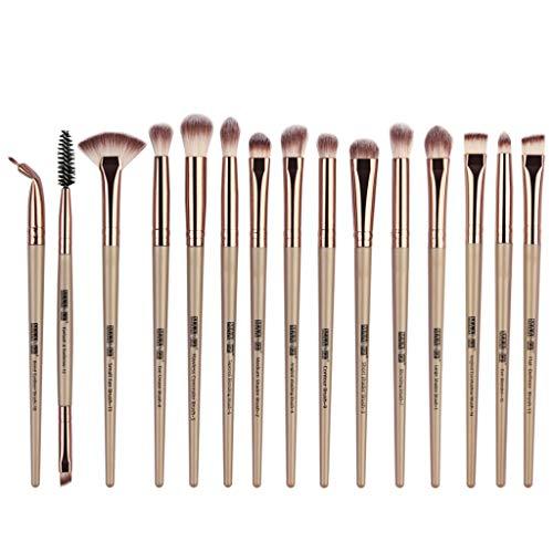 Pinceaux de maquillage Multifonctionnel 15 pcs Brosse de Maquillage Professionnel synthétique Fusion de fond de teint Concealer Eye visage Poudre crème Makeup Brushes Cosmétique kit (or)