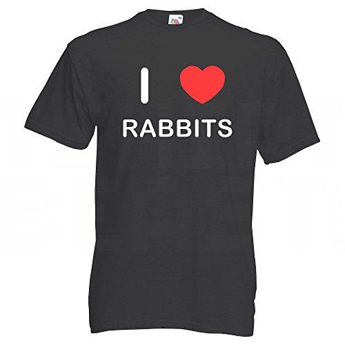 I Love Rabbits - T-Shirt Schwarz