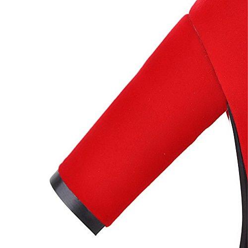 VogueZone009 Femme Haut Bas Zip à Talon Haut Bottes avec Passepoil à Diamant Verre Rouge