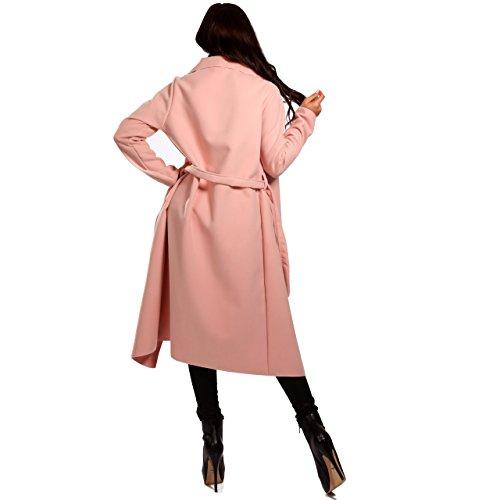 Damen Mantel mit Bindegürtel Business-Stil Rosa
