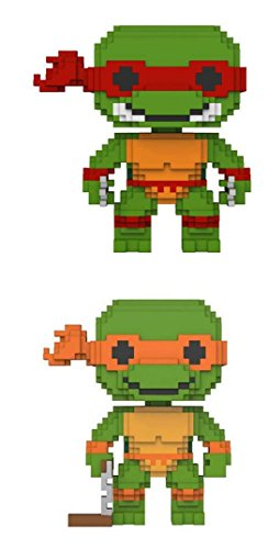 Funko POP! Teenage Mutant Ninja Turtles: 8-Bit Raphael + 8-Bit Michaelangelo - Vinyl Figure Set NEW (Teenage Michaelangelo Ninja Mutant Turtles)