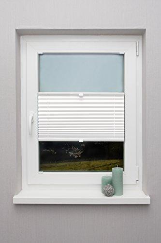 Plissee auf Maß verschiedene Farben für alle Fenster Montage in der Glasleiste Faltrollo Blickdicht mit Spannschuh Sonnenschutzrollo Fensterrollo Plissee Rollo Weiß Breite: 30 - 40 cm, Höhe: 101 - 150 cm