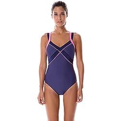 SYROKAN - Bañador Tirantes Dobles Traje de Baño Atlético de 1 Pieza Para Mujer Azul marino 38 inch
