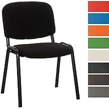 CLP Silla para visitas apilable KEN, diseño elegante, silla con respaldo, precio bajo, silla sólida y muy cómoda con su asiento acolchado negro