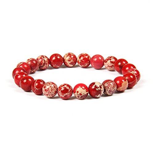 GOOD.designs Chakra Perlenarmband aus 8 mm Oder 10 mm Meeressediment Jaspis Natursteinen, Chakraarmband aus Jade für Damen und Herren (Rot 8mm)