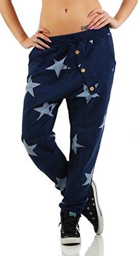 Mississhop 132 Damen Hose Sweatpants Jogginghose Baumwolle Freizeithose Boyfriend Baggy Haremshose Sternen Print mit Gummibund Blau