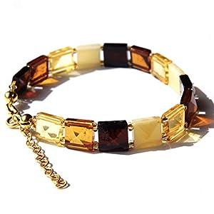 Baltischem Bernstein Vermeil 24k Gold Größe M Armband für Damen