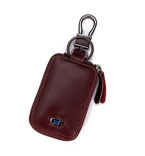 SXMY Autoschlüssel-Gehäuse aus Leder, mit Metallhaken, Schlüsselanhänger, Schlüsselanhänger, mit Bluetooth, Schwarz, Braun -